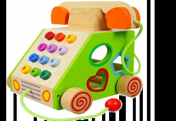 TG50036 TELEFON DREWNIANY ZABAWKA SORTER KLOCKI
